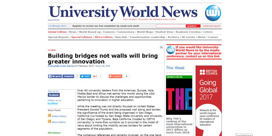 Building bridges not walls will bring greater innovation-University World News