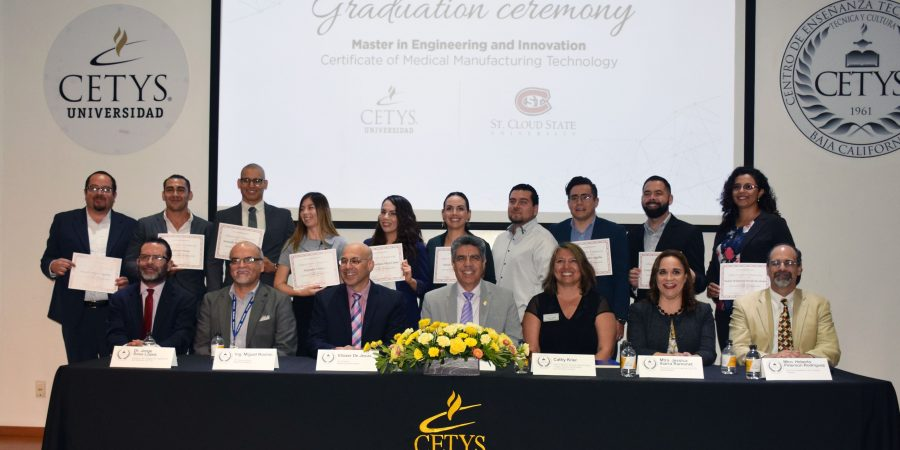 First generation of binational master's degree in medical manufacture engineering graduates at CETYS