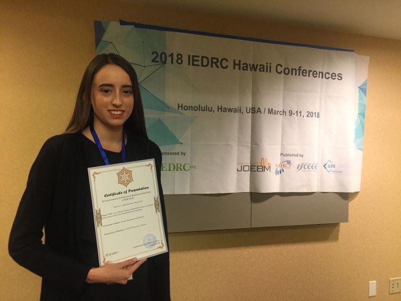 Alumna de CETYS, única latinoamericana en presentar proyecto en Hawaii